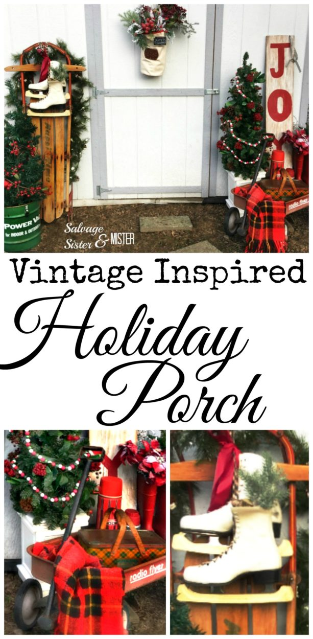 With thrifted, DIY, and items on hand this vitnage inspired holidya porch is a great way to decorate on a budget. Christmas front porch ideas is inexpensive and easy to put together. Bring some holiday curb appeal to your front porch with some retro items. #frontporch #holidaydecor
