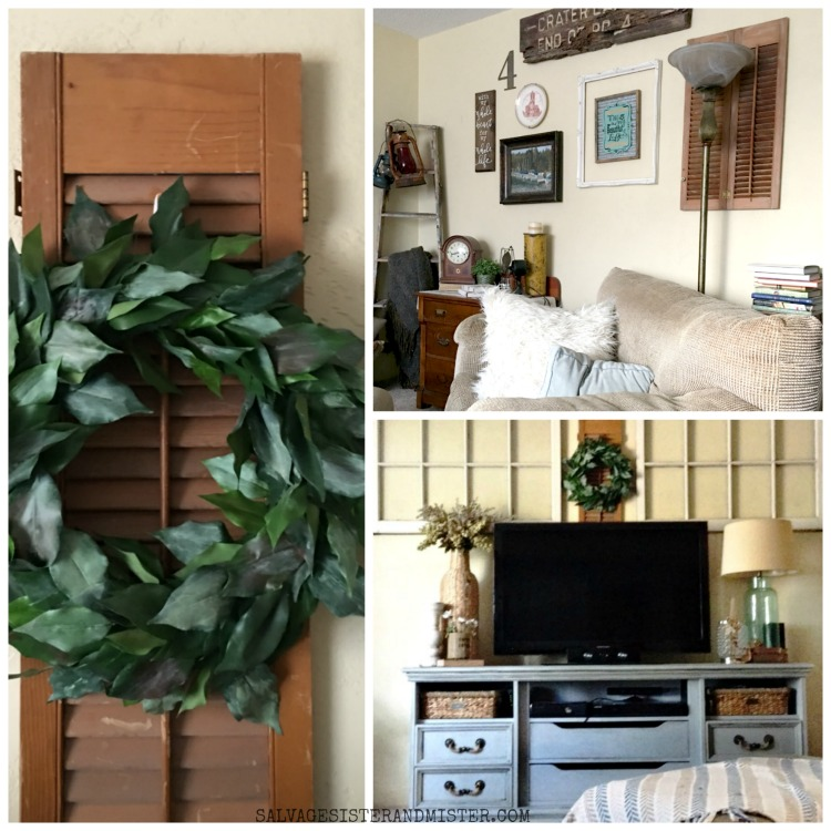 Using vintage shutters in home decorating.