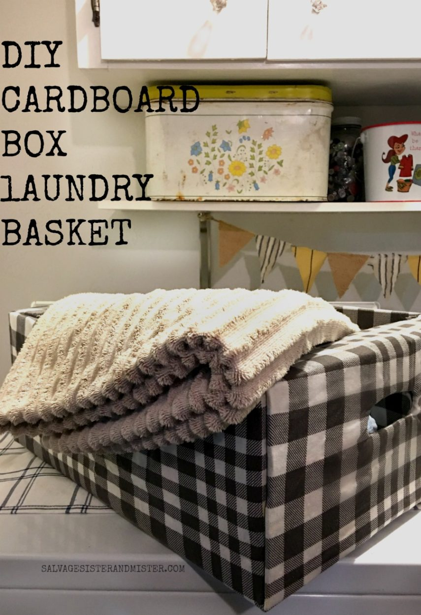 DIY cardboard box laundy basket made from a costco box.  Upcycle a regular cardboard box into something usable for your laundry room.  Great for kids to use as it's easy to carry. #repurpose #reuse
