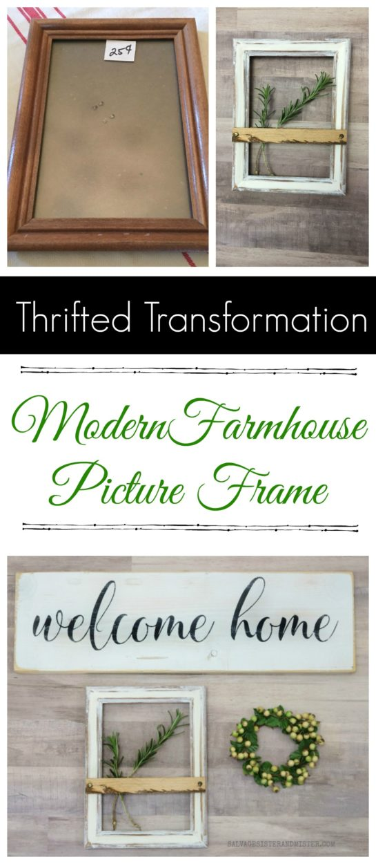 Thrifted transformation - Modern Farmhouse Picture Frame. Repurposed DIY project #repurposed