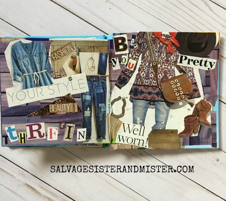 VISION BOARD BOOK using a thrifted board book. Reusing some magazines to upcycle into this vision board