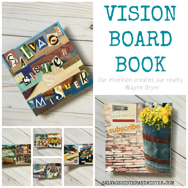 Vison board book is to take a moment and focus on life or business goals. Using old magazines and modge podge this book helps visulation goals and live more intentionally. Repurpose those magazine in this craft / diy project.