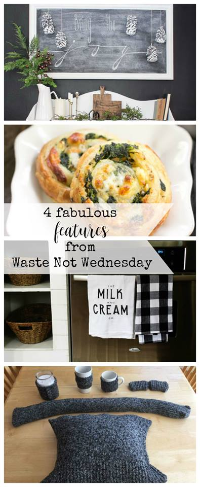 Waste Not Wednesday linky party.  Bloggers add your waste not post (upcycle, repurpose, low cost, reuse, free projects, DIY, recipes, craft, and more)  Readers can come and be inspired by all sorts of pinterest diy projects to create the best wiht what you already have for your home