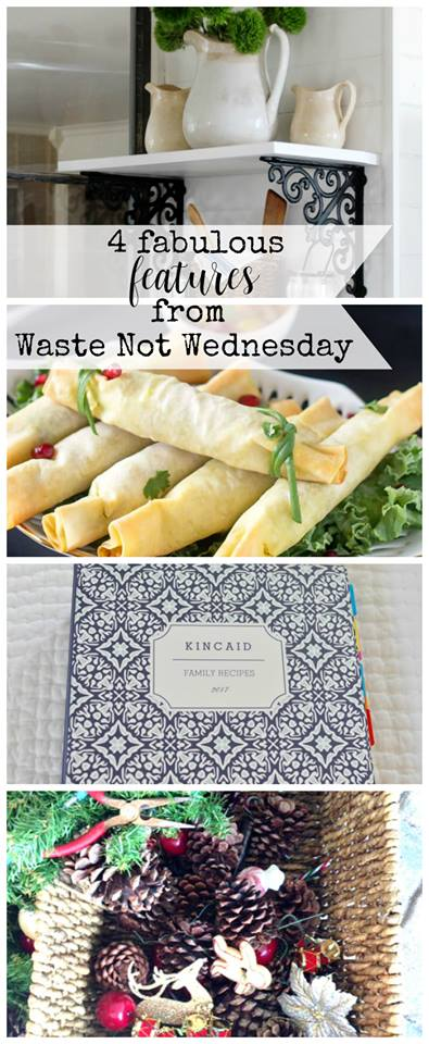 Waste not Wednesday linky party features for the week.  If you love frugal or less waste ideas, here is a place you can add your blog posts or you can find decor, diy, craft, and recipes to waste not, want not.  #wastenot