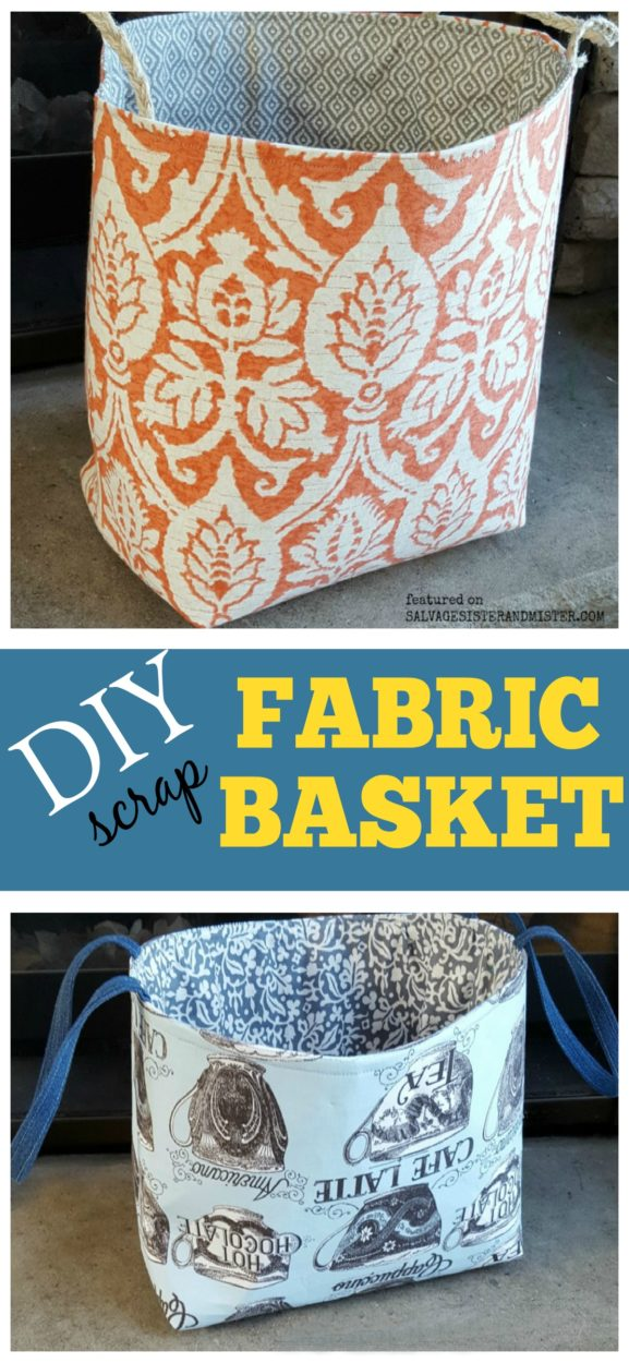 Making a DIY scrap fabric basket with extra material you have on hand. Full sewing tutorial - step by step process. #sewing #reuse #howto www.salvagesisterandmister.com