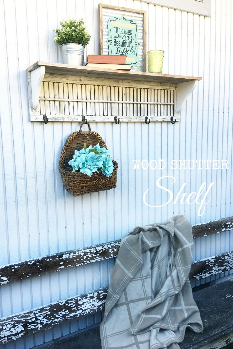 DIY Wood Shutter Shelf - make your own with a thrifted shutter to upcycle it #upcycle #farmhouse