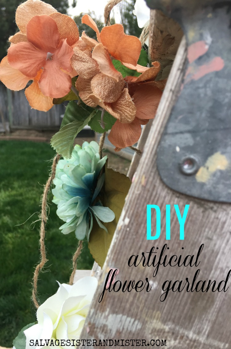 diy artifical flower garland SALVAGESISTERANDMISTER.COM