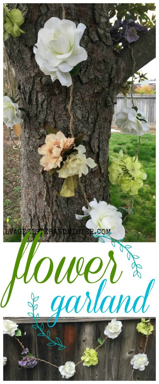 A DIY project on how to make an artificial flower garland using thrift store flowers #thrifting #reuse #springcraft