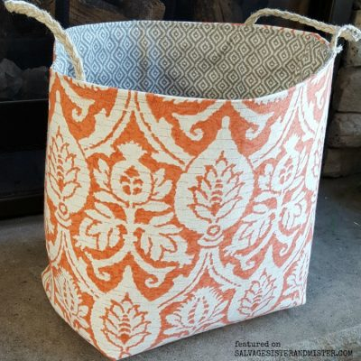 A tutorial for a scrap fabric basket #sewing #wastenotwantnot #reuse feature on salvagesisterandmister.com