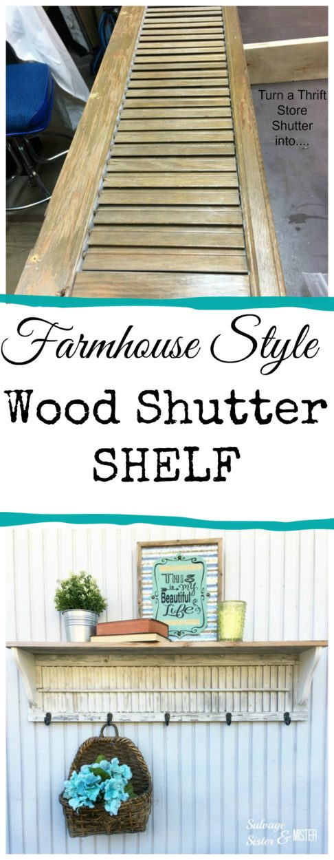 Farmhouse style diy wood shutter shelf from a thrift store find.  #thrift #upcycle #farmhouse