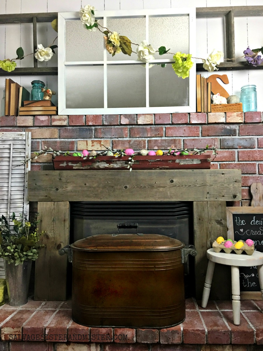 Budget Friendly Spring Mantel - Shop Your Home #budgetfriendly #springdecor #mantel
