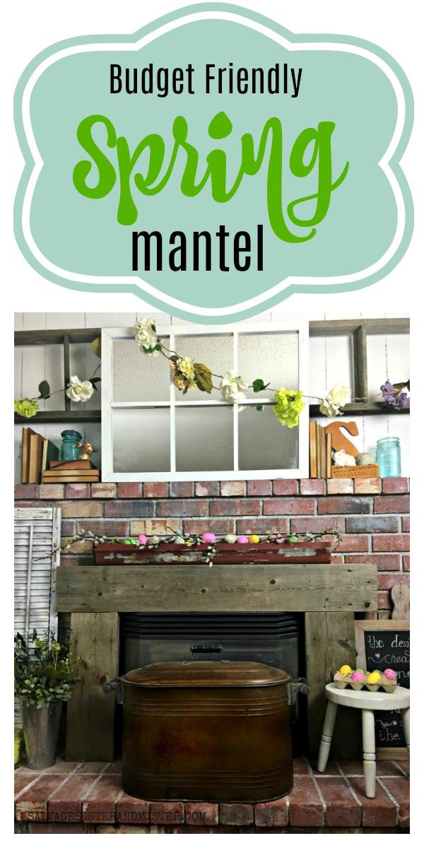 Shop You Home - Budget Friendly spring mantel #springdecor #budgetfriendlydecor #mantel
