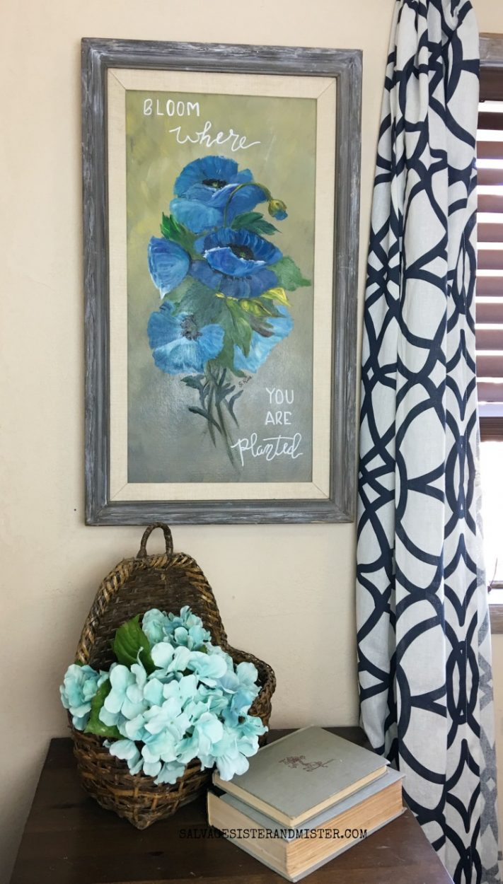 Updating a thrift store painting with this easy diy tutorial. #thriftstoretransformation #reuse #diy