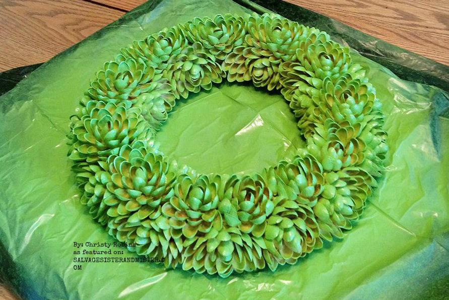 featured on salvagesisterandmister.com Faux Succulent Pistachio Wreath