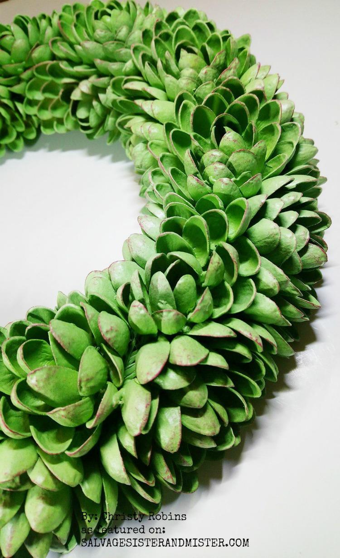 craft project using pistachio shells - Faux Succulent Pistachio Wreath #upcycle #reuse #repurpose