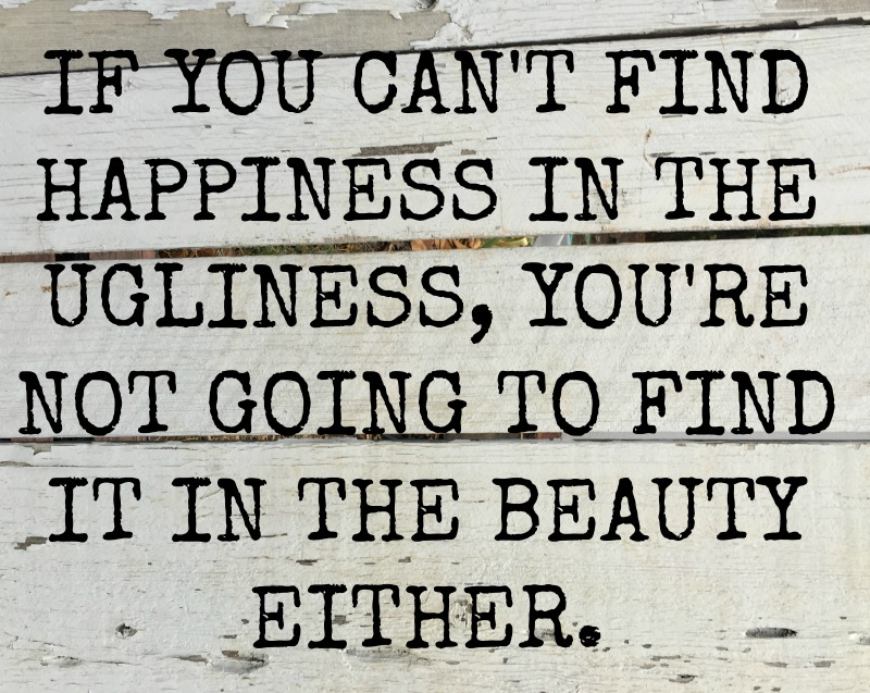 GAINES QUOTE - IF YOU CANT FIND HAPPINESS IN THE UGLINESS, YOU'RE NOT GOING TO FIND IT IN THE BEAUTY EITHER.