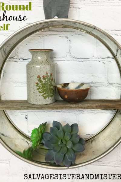 Thrift Store DIY Farmhouse Round Shelf