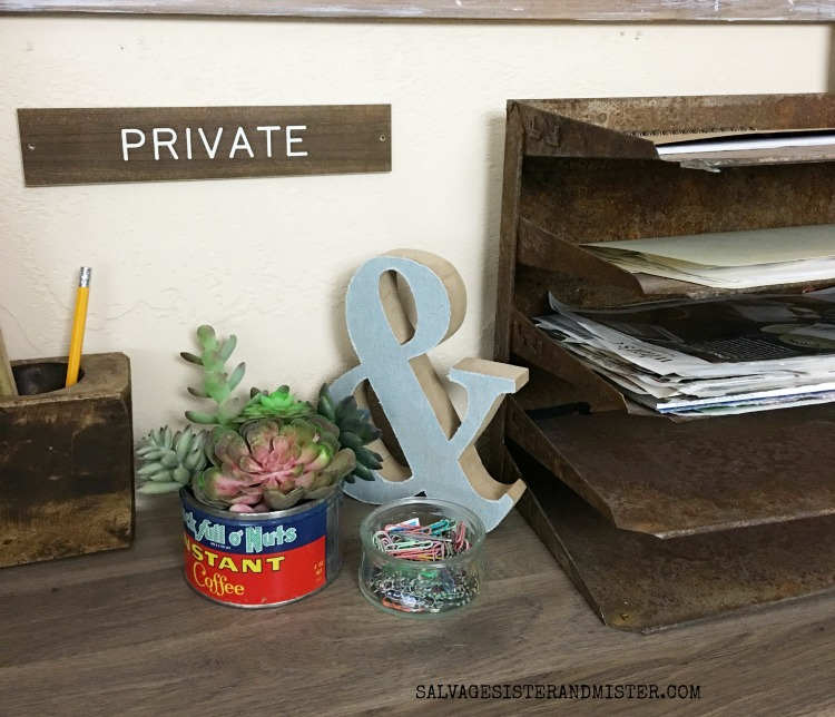 vintage office desk - wood sugar mold, old file organizer, old coffee tin salvagesisterandmsiter.com
