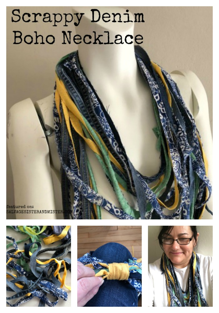 Create a unique scrappy denim diy boho necklace with leftover fabric scraps. #resue #upcycle #repurpose