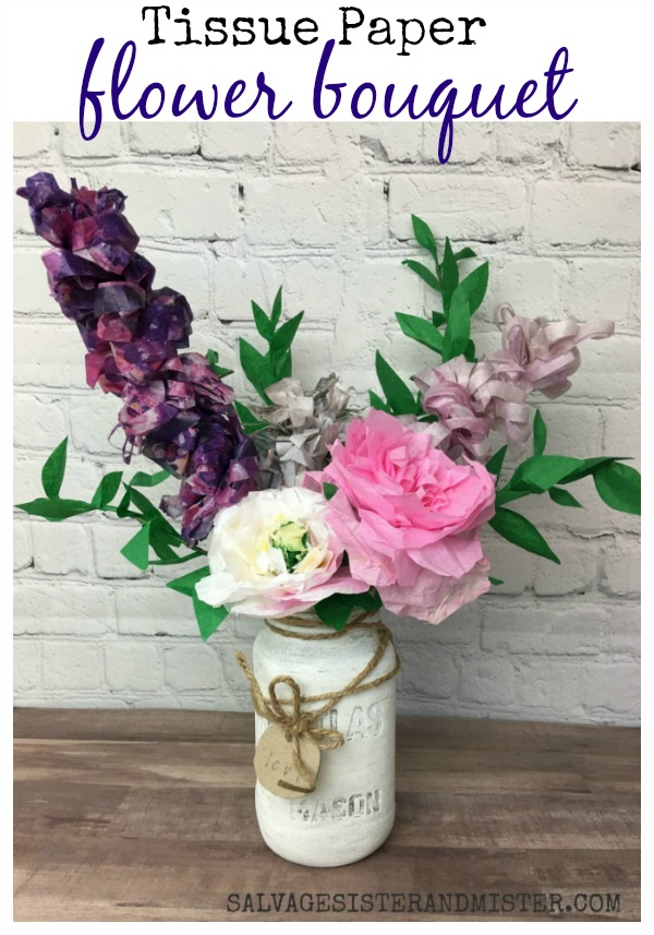 Make a tissue paper flower bouquet with leftover craft supplies #reuse #wastenotwantnot #repurpose found on salvagesisterandmister.com