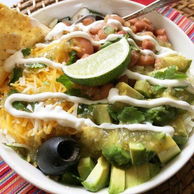 Leftover Rice Vegetarian Burrito Bowl