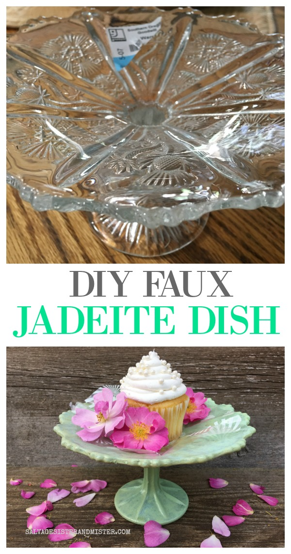 Turning a thrift store glass stand and updating it into a DIY Faux Jadeite Dish -tutorial, product info used, and review on salvagesisterandmister.com #thrifting #jadeite #craftdiy