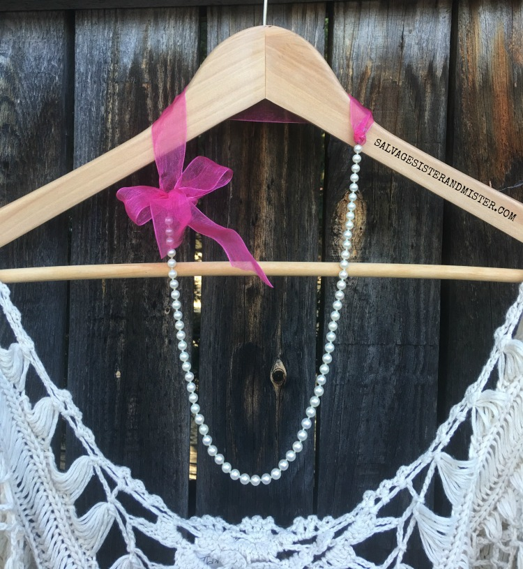 How to make a DIY thrifted pearl and ribbon necklace found on salvagesisterandmister.com