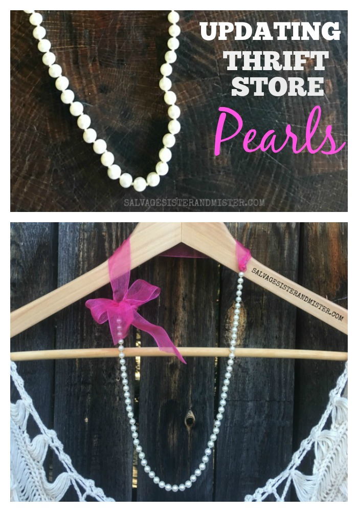 DIY Thrifted Pearl and Ribbon Necklace is a great way to update a plain pearl necklace - project on salvagesisterandmister.com #craft #thriftstyle #diyfashion #thriftfashion