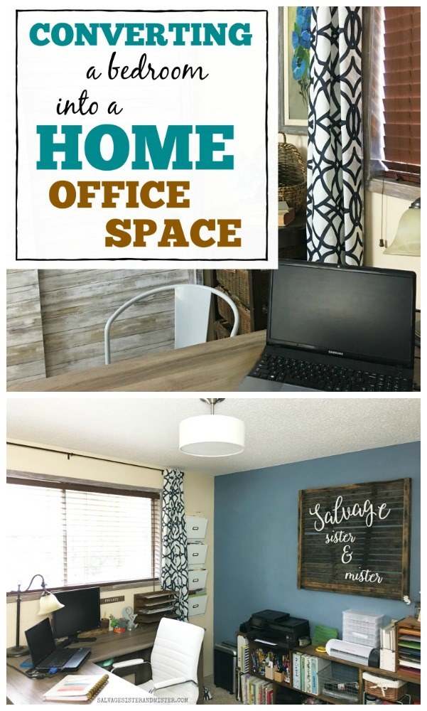 Working from home  requires a functioning space dedicated to work. Here is a budget friendly makeover - converting a bedroom into a home office work space #homeoffice #budgethomedecorating #homedecor