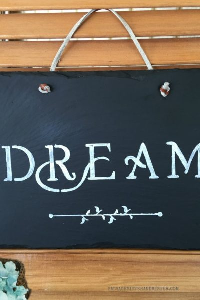 DIY Slate Chalkboard Sign From an Old Wall Hanging