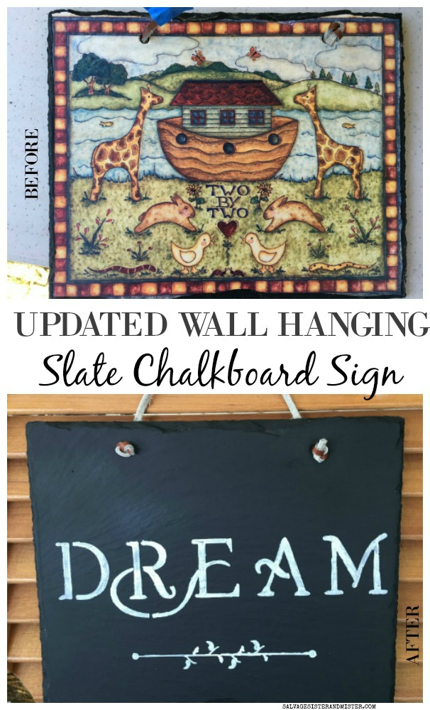 Updating an old wall hanging to a diy slate chalkboard sign how to on salvagesisterandmister.com #craft #diy #thrifted