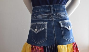 Easy DIY Scrappy Denim Skirt From Old Jeans