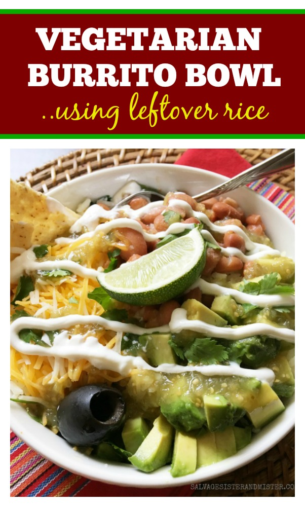 Take leftovers and make them new again. - leftover rice vegetarian burrito bowl. Makes a great lunch and a new dinner. Customize it how you like and add meat if you desire. Great for Meatless Monday #leftovers #usewhatyougot #lunch #dinner
