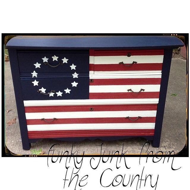 American flag painted dresser #upcycle #flag #paintedfurniture