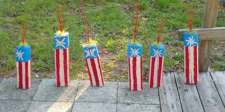 Wood scraps diy firecrackers for the 4th of July #upcycled #woodscrps #4thofjuly