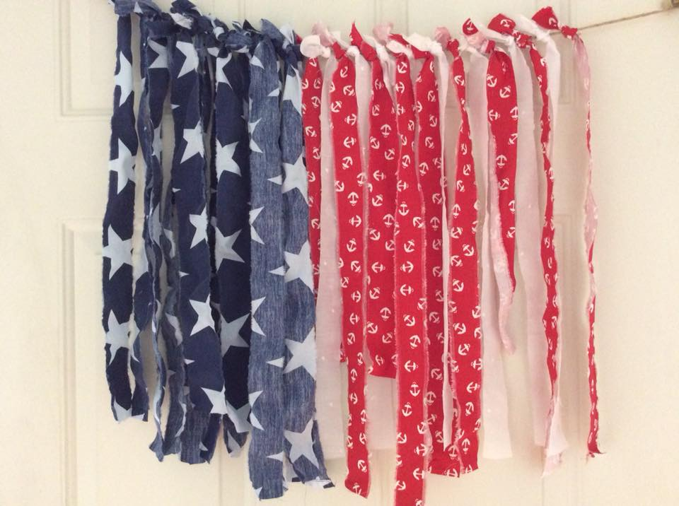 Patriotic garland #upcycled #repruposed #fabricgarland