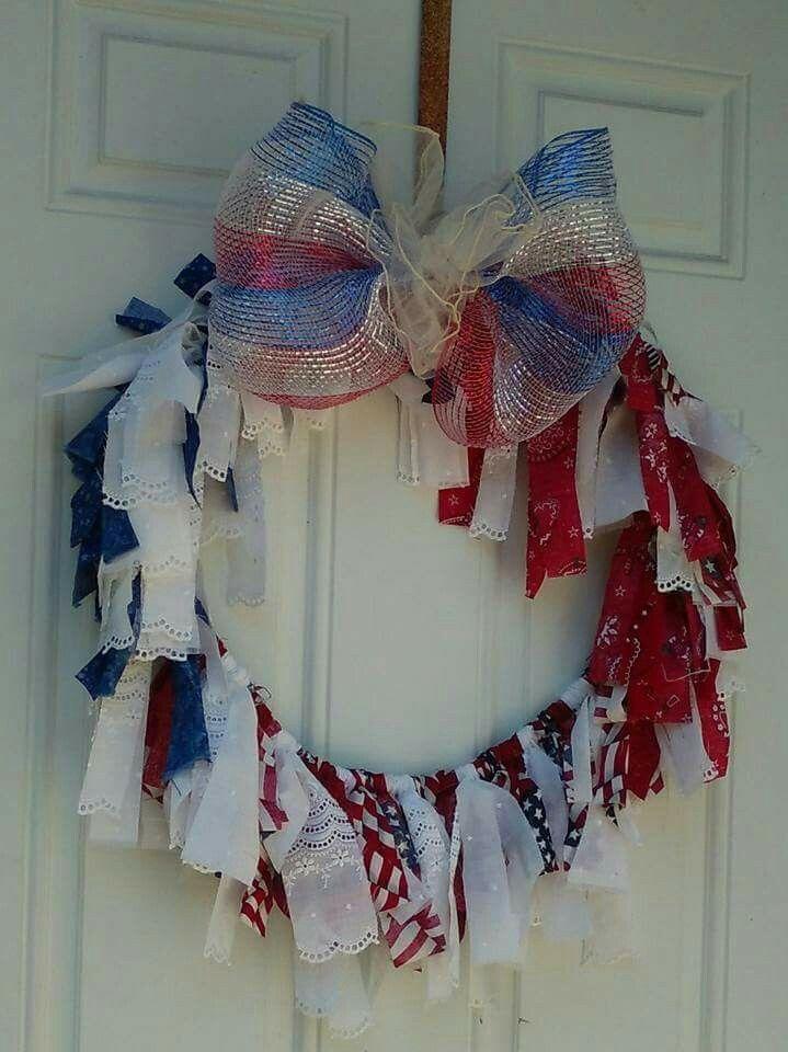 Fabric scraps used to make a patriotic wreath