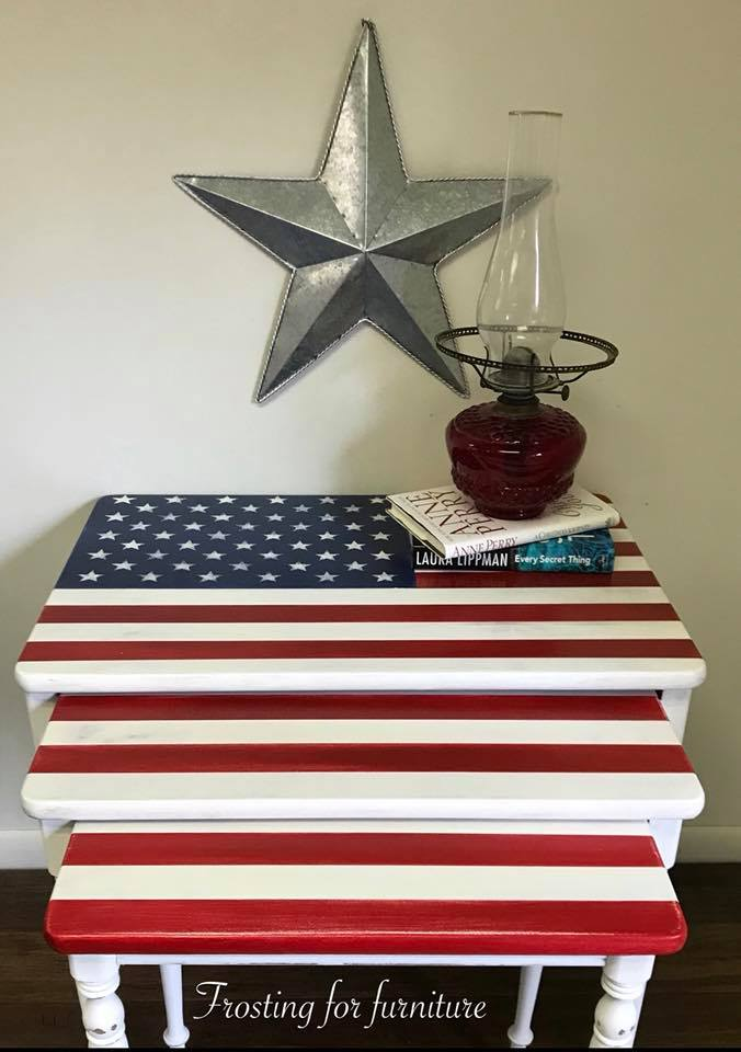 Patriotic nesting tables painted by Sherrie Gebhardt Smith