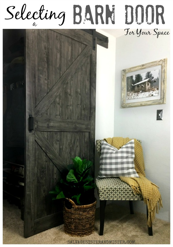 Tips on selecting a barn door your your space. #sponsored #farmhouse #barndoor #homedecor