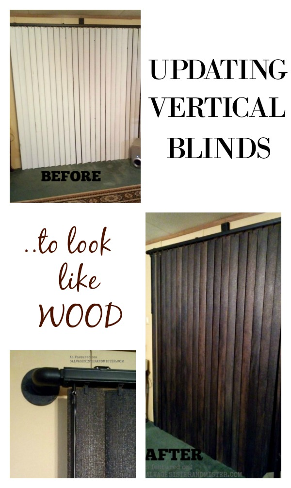 Tutorial - How to update vertical blinds to look like wood - as featured on salvagesisterandmsiter.com #diy #farmhousestyle #homedecor #budgetfriendly