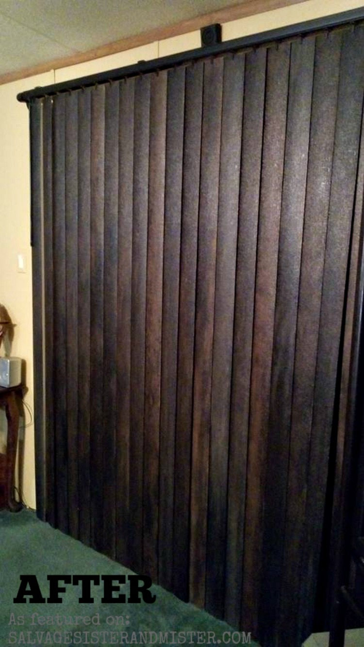 how to update vertical blinds to look like wood featured on salvagesisterandmister.com