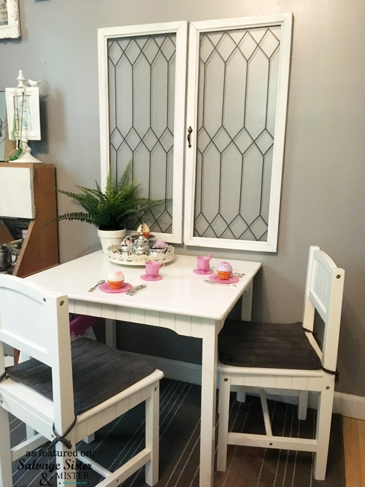 Make you r own leaded glass windows for a vintage look. These were done with thrifted windows. Featured on salvagesisterandmister.com #diyprojects #reuse #thrift