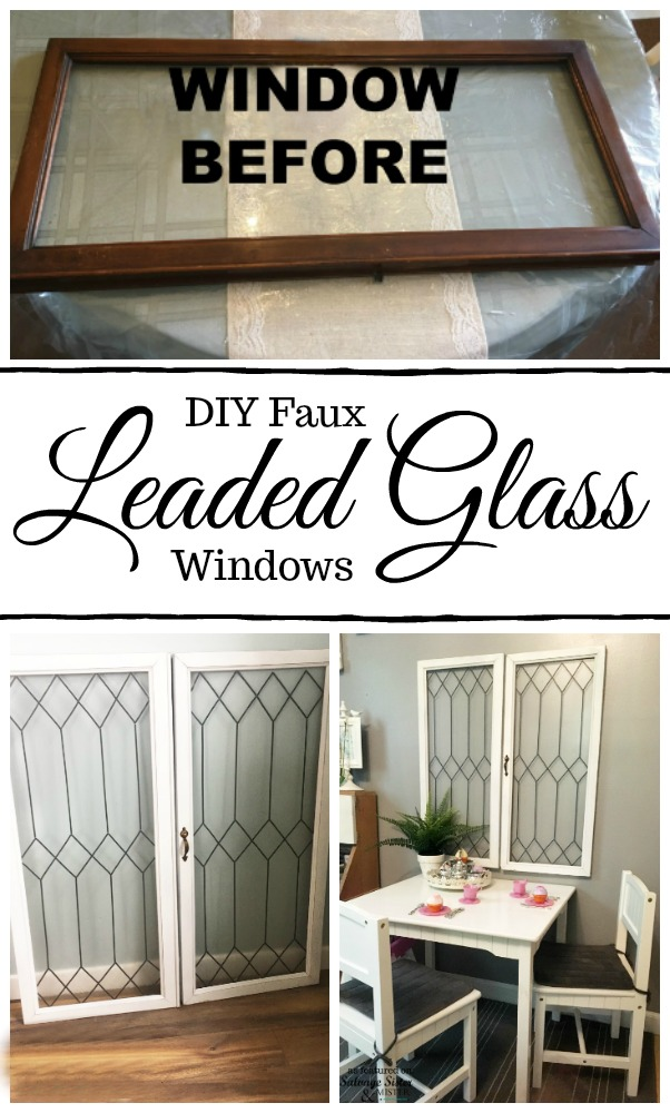 Did you know you can create faux leaded glass windows? This full tutorial will show you how to turn regular windows into these vintage inspired beauties #vintage #diyproject #leadedglass