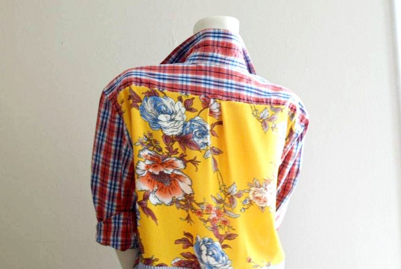 Create a DIY Upcycled Thrifted Boho Women's Top top from old shirts #reuse #repurpose #wastenotwantnot #sewing #bohotop