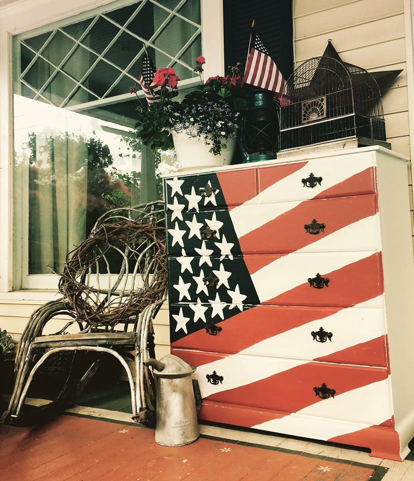American flag painted furniture dresser by Debbie Wettergren featured on salvagesisterandmister.com