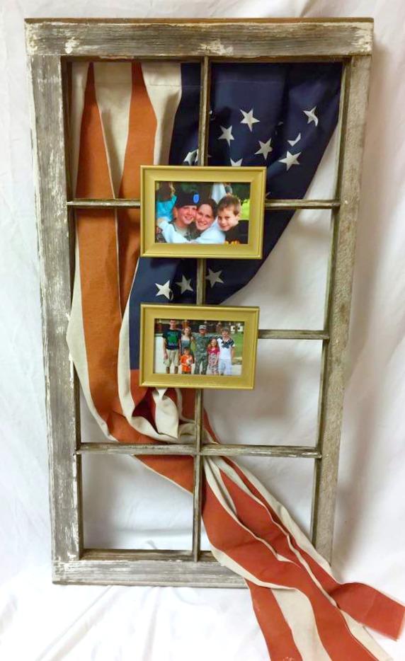 patriotic upcycled window american flag