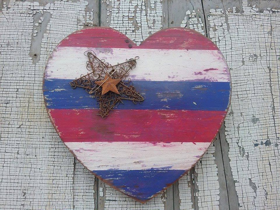 Patriotic heart for the 4th of July - by Vicky Kloppenborg
