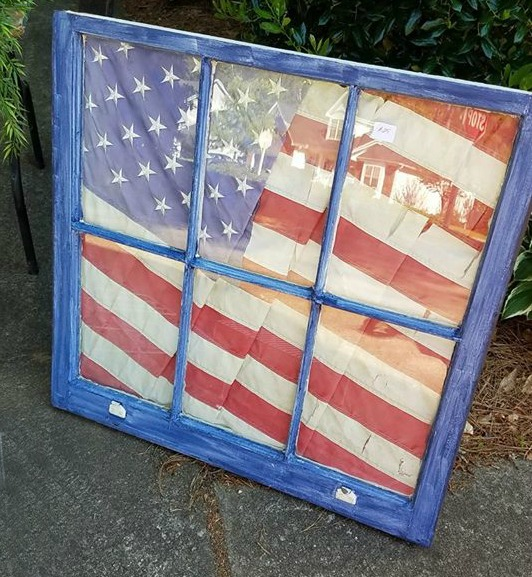 old window repruposed into a patriotic decor item
