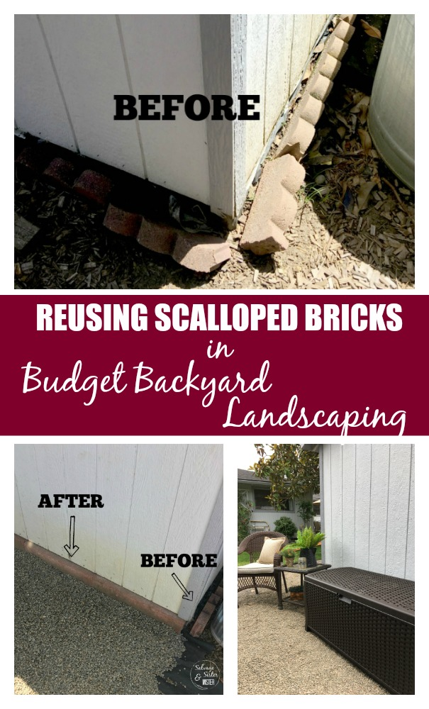 Don't like the look of scalloped bricks?  What if you could reuse them in your landscaping?  You can.  Here are some reusing scalloped bricks ideas. #reuse #landscaping #budgetdecorating