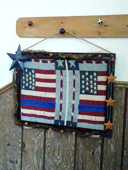 Patriotic upcycled projects - woven tapestry